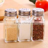 Wholesale price stainless steel top Clear Glass Salt and Pepper Shaker set kitchen spice glass salt and pepper jar
