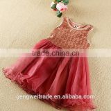 Red Sequins 2-7 Years Old Baby Girls Dress Sequin Red Gown Kids Christmas Dress For Party