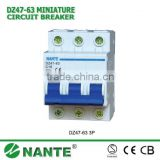 NANTE IEC Standard DZ47-63/C45 Miniature Circuit Breaker, MCB Switch, 1P, 2P, 3P, 4P with CE/SEMKO Approval