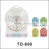 Portable Handhold All Plastic Rechargeable Mini USB Fan with 3 Gear Speed for Outside/Inside Use
