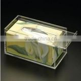 clear Acrylic napkin holder with sliding lid,acrylic tissue display stand