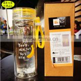leak protected 4 colors glass tea bottle with portable ring
