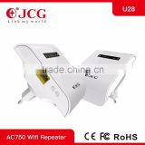 750Mbps Dual Band AC Wifi Repeater,Strongest WiFi Covering Wireless Network Setup JCG U28