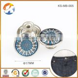 Hot Sale Nickel With Sky Blue Metal Shank Button For Jeans