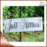 "Wooden wedding decoration""Just Married"" 40x14cm white with black"
