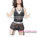 Sexy Adult Stretch Lace Peplum Corset Ribbon Belt & Garters Transparent Nighty