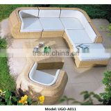Popular Sale White Rattan Sofa Garden Set with pedal double seats furniture