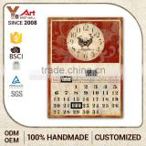 Newest Decorative Calendar Antique Indian Carved Wall Plaque Small Metal Craft With Clock