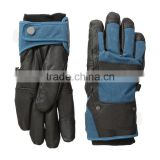 Man waterproof breathable leather palm snowboard ski gloves