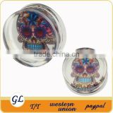 TP02976 transparent acrylic skull piercing body jewelry, acrylic plug body piercing jewelry
