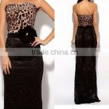 Sexy leopard lace stitching Chest wrap cocktail evening dress