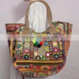 RTHHB-38 indian handmade semi leather handle tote shopping bags traditional embroidery Manufacturers