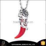 High polish cheap Stainless Steel Red color cow horn Pendant