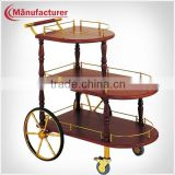 Mobile Food Cart Design/Deluxe Wooden Liquor Delivery Trolley/Wine Service Cart in Five Star Hotel