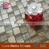China Factory Direct Sales glass mix stone mosaic tile, glass stone mosaic for home decoration (size 12'x12')