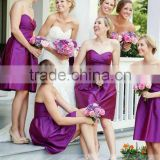 B02 Custom Made Off The Shoulder Sweetheart Sleeveless Knee Length Purple Short Bridesmaid Dress