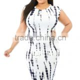Tie Dye Cut-out Back Plus Size Midi Dress summer dress for fat woman
