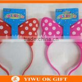 Red Color Plastic Minnie Mouse LED Light Up Headband Flashing Glow Bow Headband For Party