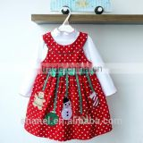 hot-selling 2015 Christmas snowman children Sets Girls polka dots vest dress+ undershirt two-pieces suits