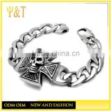 Wholesale Punk Cool Stainless Steel Mens Skull Bracelet Chains bracelets for biker jewelry ,skull bracelets for mens