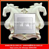 White Horse Couple Floral Socket Frames Sticker
