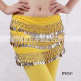 Plus size chiffon 3 layers of coins belly dance hip scarf belly dance hip belt