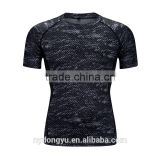 gray men tight fit fast dry sports t shirts /jqi outdoor short sleeve basketball training jogging active t shrts/polyester tee