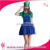 Women hot sale red and green Mario plumbers fancy dress costume UK games cartoon cosplay costume super Mario and Louis brother