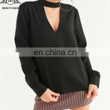 High Mock-Neck And V-Neckline Cutout Long Sleeve Cut-Out Collar Latest Fashion Lady Formal Blouse