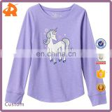 Jumping Beans Kids Clothing, Girls 4- 8 Long Sleeve Slubbed Shirttail Graphic Kids Cartoon T- shirt