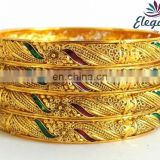 Wholesale One Gram Gold plated bangles/bracelets - Artificial gold bangles - African gold plated bangles - south indian bangles