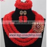 2017 African wedding jewelry set handmade party accesorries jewelry beads coral necklace sets