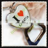 heart shape bottle opener keychain, metal opener keyring with printed logo, fashion key chain for tourist