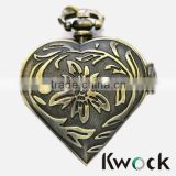 Bronze Antique Heart Quartz Pocket Watch Retor Clock Gift Necklace Pendant cheap pocket watch