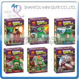 Mini Qute BELA 6pcs/set Anime Ninja Turtle cartoon educational toys building block action figures educational toy NO.10200-10205