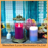 Battery operated moving wick flameless pillar wax led flameless candle, home decoration led flameless candle/