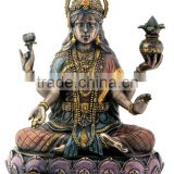Bronze Hindu Goddess Lakshmi On Lotus Hinduism Display Statue                                                                         Quality Choice