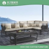 Modern cheap black or white rattan sectional furniture wicker sofa set table and 6 chairs with colorful cusions                                                                                         Most Popular