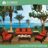 Wholesale home casual leisure ways PE rattan outdoor patio garden furniture red outdoor sofa set living room furniture
