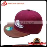 Fashion custom embroidered pu brim hip-hop cap for sale dull-red soft cotton snapback hats