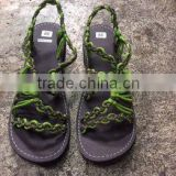 Dobbytex DBTS5 BADANA Leaves green Twist Handmade rope Sandals/Shoes Hill tribe / Hmong / Summer / African