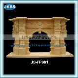 natural marble large interior fireplace surround