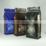 Zip Lock Flat Bottom Coffee Bag with vavle/Standing Side Gusset PE Lined Packaging Quad Seal Flat Block Bottom Coffee Bags