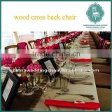 Hot selling bistro solid wood rattan seat x cross back dining chairs/industrial cafe chairs/restaurant chair