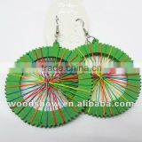 Hot Sale Colorful Thread Round Wood Earring