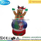 Outdoor Large Christmas INFLATABLE Reindeer Snowglobe, Airblown Globe with Santa and X-mas tree for Yard Decoration