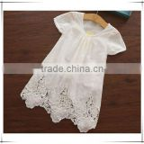 New Arrival 2015 Summer Baby Girls Fashion White Dresses Girls Embroidery Floral Dresses Girls Cotton Soft White Dress D64