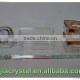 Customizable Crystal Pen Holder with Clock;Clear Crystal Business Card Holder with Diamond Clock for Desktop Decorations