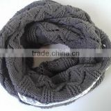 Women's Hot Fashion Girl's Soft Chunky Acrylic Knitted Neck Warmer Round Scarf With Lace Trims
