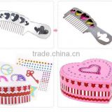 Lovely DIY girls painting jewelry box set drawing colorful pearl hair band, comb, handing string